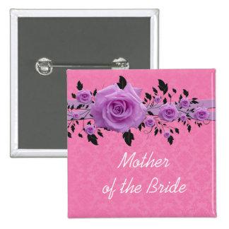 Botón color de rosa rosado romántico del damasco pin cuadrado