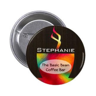 Botón colorido de la etiqueta del nombre de la taz pin redondo de 2 pulgadas