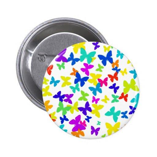 Botón colorido de la mariposa pin redondo de 2 pulgadas