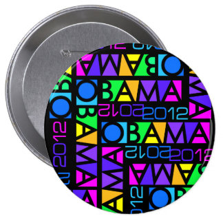 Botón colorido de OBAMA 2012, enorme Pin Redondo De 4 Pulgadas