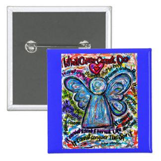 Botón colorido del arte de la pintura del ángel pin cuadrado