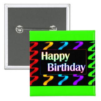 Botón colorido del feliz cumpleaños pin cuadrado