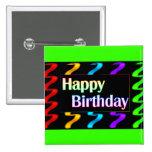 Botón colorido del feliz cumpleaños pins