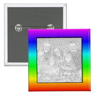 Botón colorido del marco de la foto del arco iris pin