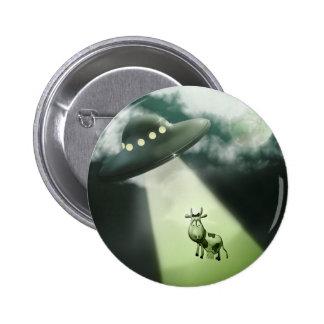 Botón cómico de la abducción de la vaca del UFO Pin Redondo De 2 Pulgadas