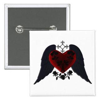Botón con alas negro del corazón del gótico pin cuadrado