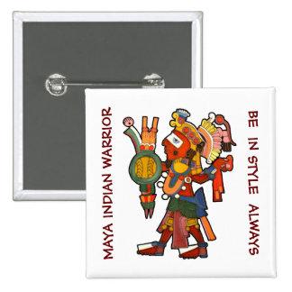 Botón con el indio maya pin cuadrado
