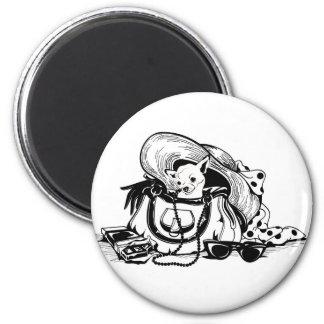 Botón con el perro gráfico en imagen del bolso imán redondo 5 cm