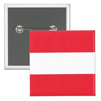 Botón con la bandera de Austria Pin Cuadrado