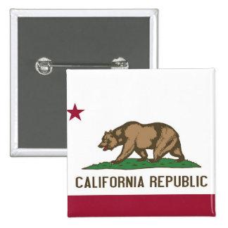 Botón con la bandera de California Pin Cuadrado