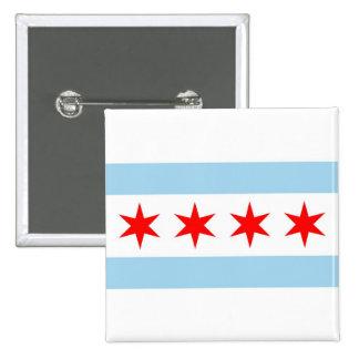 Botón con la bandera de Chicago, Illinois Pin Cuadrado