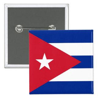 Botón con la bandera de Cuba Pin Cuadrado