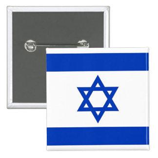 Botón con la bandera de Israel Pin Cuadrado