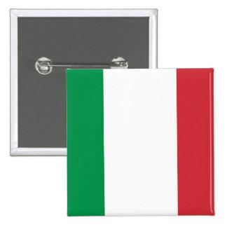 Botón con la bandera de Italia Pin Cuadrado