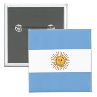 Botón con la bandera de la Argentina Pin Cuadrado