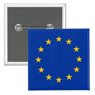 Botón con la bandera de la unión europea pin cuadrado