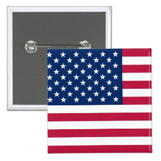 Botón con la bandera de los E.E.U.U. Pin Cuadrado
