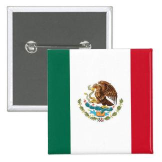 Botón con la bandera de México Pin Cuadrado