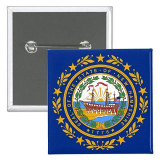 Botón con la bandera de New Hampshire Pin Cuadrado