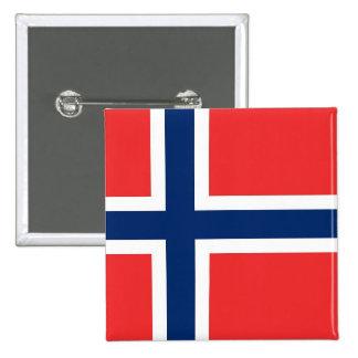 Botón con la bandera de Noruega Pin Cuadrado