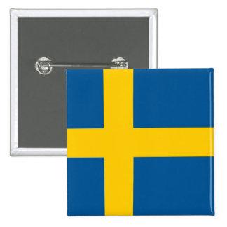 Botón con la bandera de Suecia Pin Cuadrado