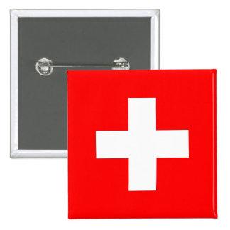 Botón con la bandera de Suiza Pin Cuadrado