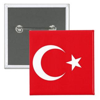 Botón con la bandera de Turquía Pin Cuadrado