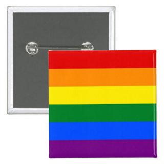Botón con la bandera del arco iris de LGBT Pin Cuadrado