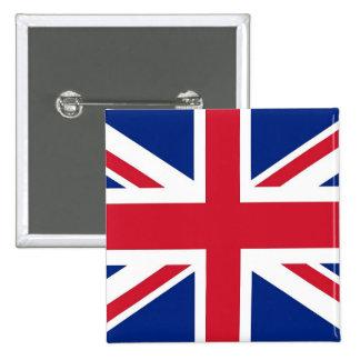 Botón con la bandera del Reino Unido Pin Cuadrado