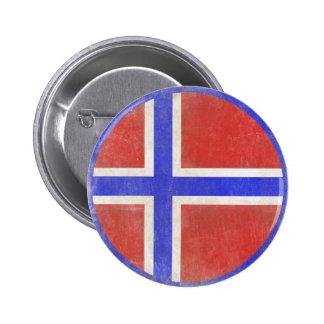Botón con la bandera noruega apenada pin redondo de 2 pulgadas
