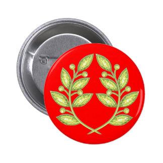 Botón con la guirnalda cristalina del laurel pins