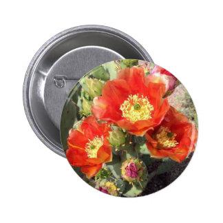 Botón con las flores del cactus pin redondo de 2 pulgadas