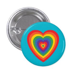 botón (concéntrico) del corazón del arco iris 80s pin redondo de 1 pulgada