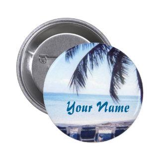 Botón conocido de la playa pin redondo de 2 pulgadas