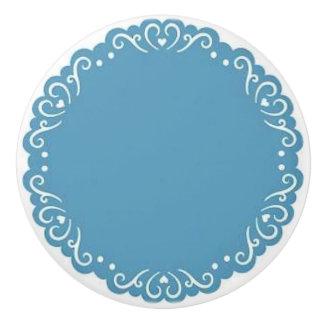 Botón/corazones de cerámica azules pomo de cerámica