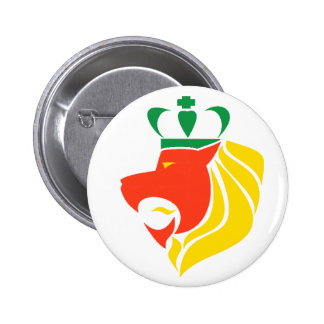 Botón coronado reggae del león de Rasta Pin Redondo De 2 Pulgadas