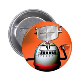 Botón cosechado retro del robot 03 del juguete pins
