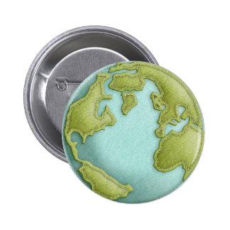 Botón cosido 3D del modelo de la tierra Pin Redondo De 2 Pulgadas