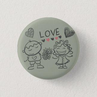 Boton Couple Love Bouquet Scribbles Button