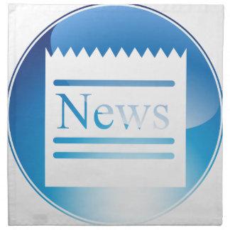 Botón cristalino azul de las noticias servilleta imprimida