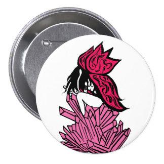 Botón cristalino de hadas rosado pin