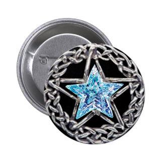 Botón cristalino de la estrella del Pentagram Pins