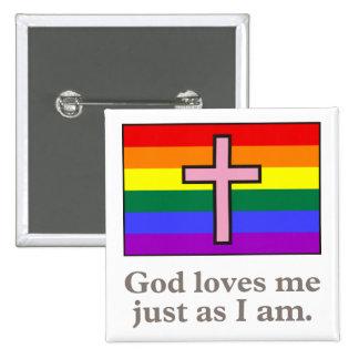 Botón cristiano gay del lema de la bandera pin cuadrado