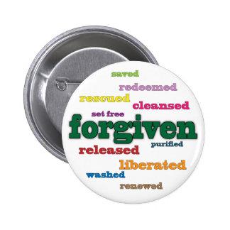 Botón cristiano perdonado (blanco) pin