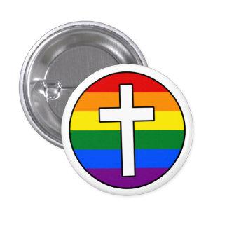 Botón cruzado del arco iris pin redondo de 1 pulgada