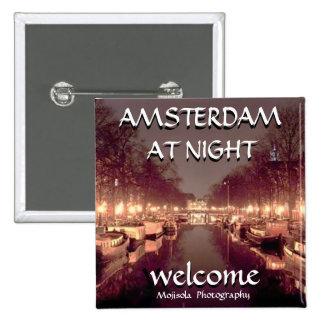 Botón cuadrado - Amsterdam en la noche Pins