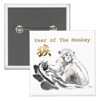 Botón cuadrado chino del Año Nuevo 2016 del mono Pin Cuadrado