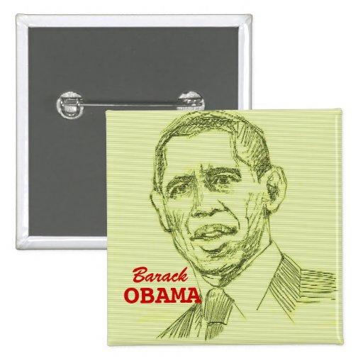 Botón cuadrado de Barack Obama Pin Cuadrado
