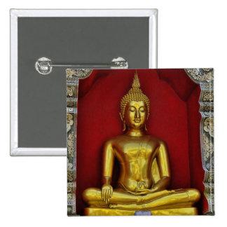 Botón cuadrado de Buda del oro Pin Cuadrado