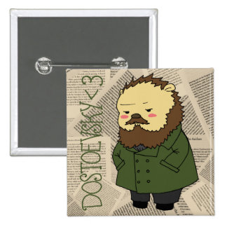 Botón cuadrado de Dostoevsky Pin Cuadrado
